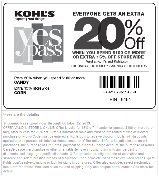Kohls 20 off coupon code