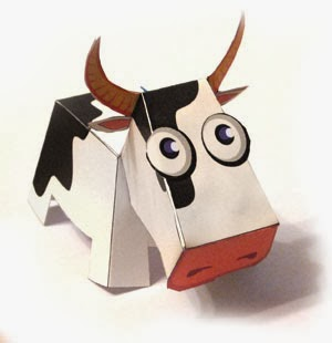 3D Cow Free Printable. Paper Toy.