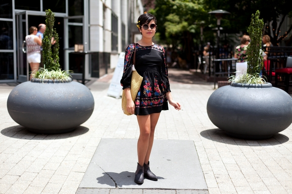black boho dress with flowers, short hair style, round sunglasses, NYU student, Raleigh NC, street style in raleigh nc, fashion in North Carolina, I'm cooler scott Schuman