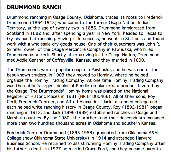 Drummond Ranch Pawhuska Oklahoma
