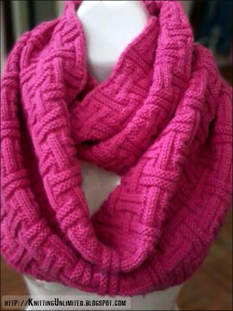 Basketweave cowl knitting