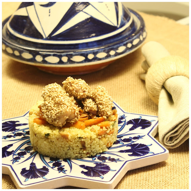 curry vegetables cous-cous with chicken with honey and sesame seeds