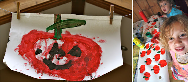 Halloween crafts, apple printing