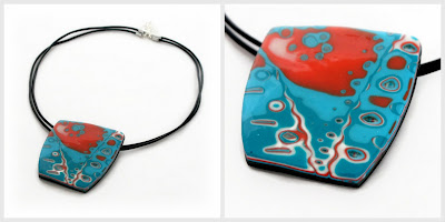Polymer Clay Mokume Gane Pendant in Turquoise & Orange Handmade by Lottie Of London Bespoke Jewellery