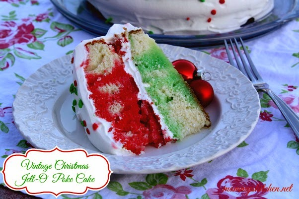 ... Christmas Jell-O Poke Cake from our holiday dinner. My favorite