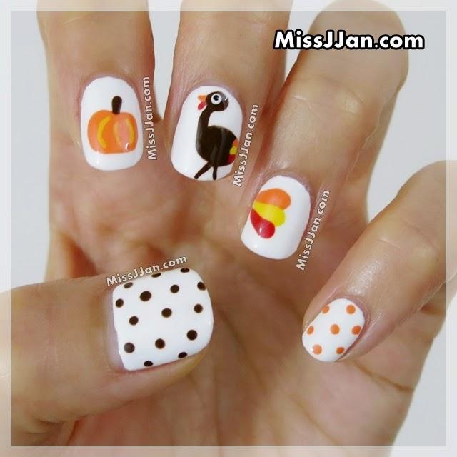 Thanksgiving Nail Art Tutorials: MissJJan's Beauty Blog ♥: Cute Thanksgiving Turkey Nail