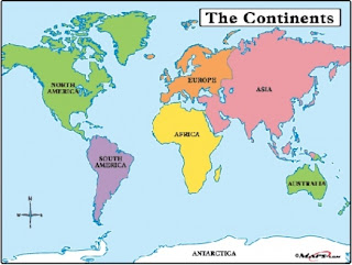 World map is labelled with seven continents