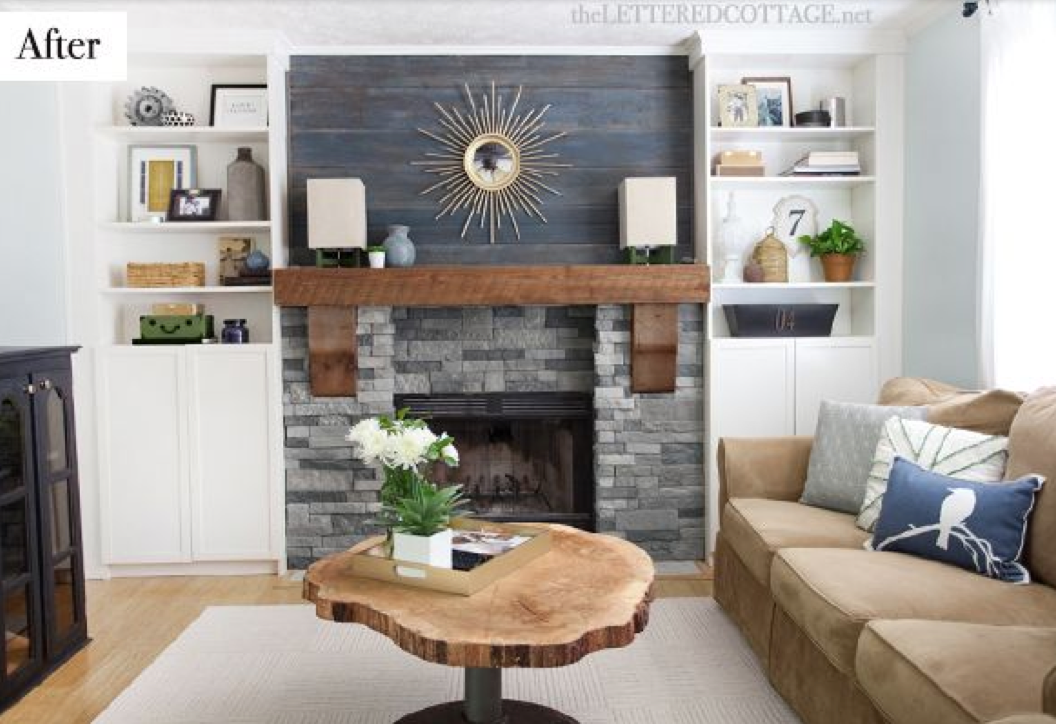 One project at a time diy blog cabin fireplace part 2 for Modern cottage living room ideas