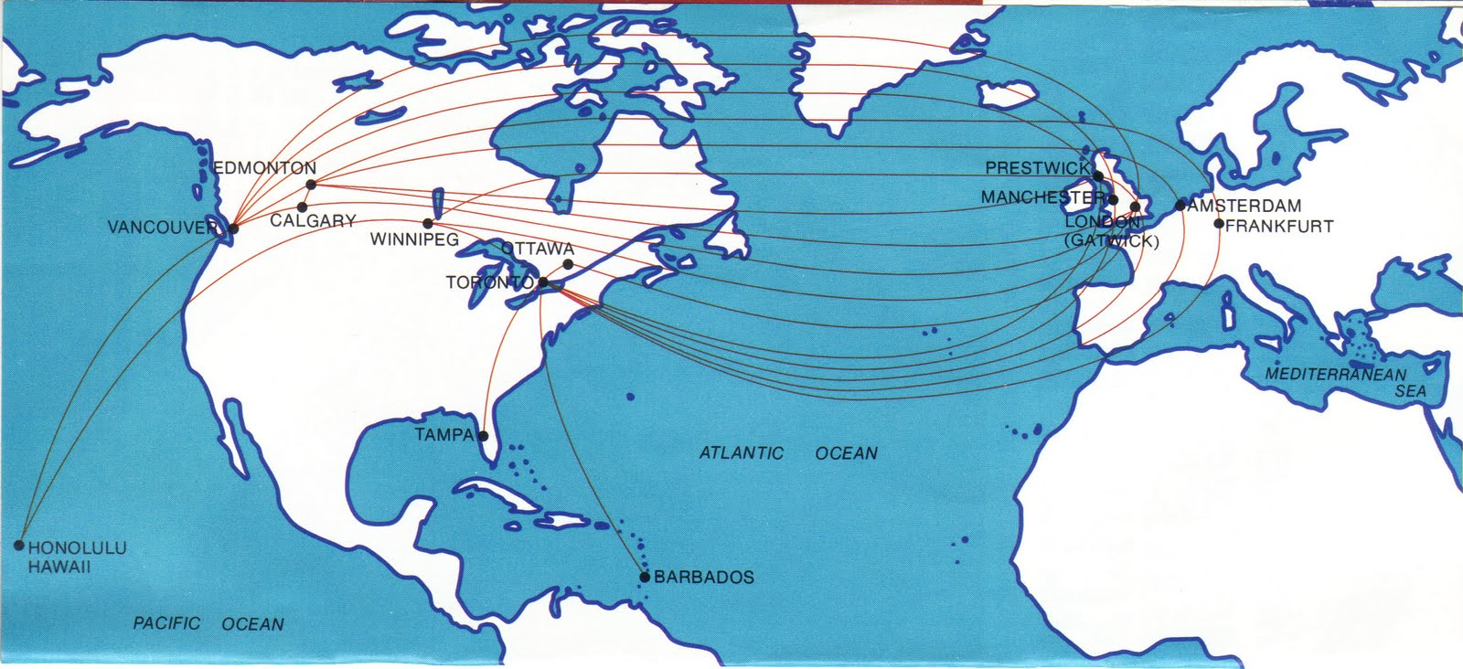 Airlines Past & Present: Wardair Canada Route Map April 1979