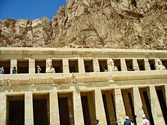 close-up of queen hatshepsut's temple