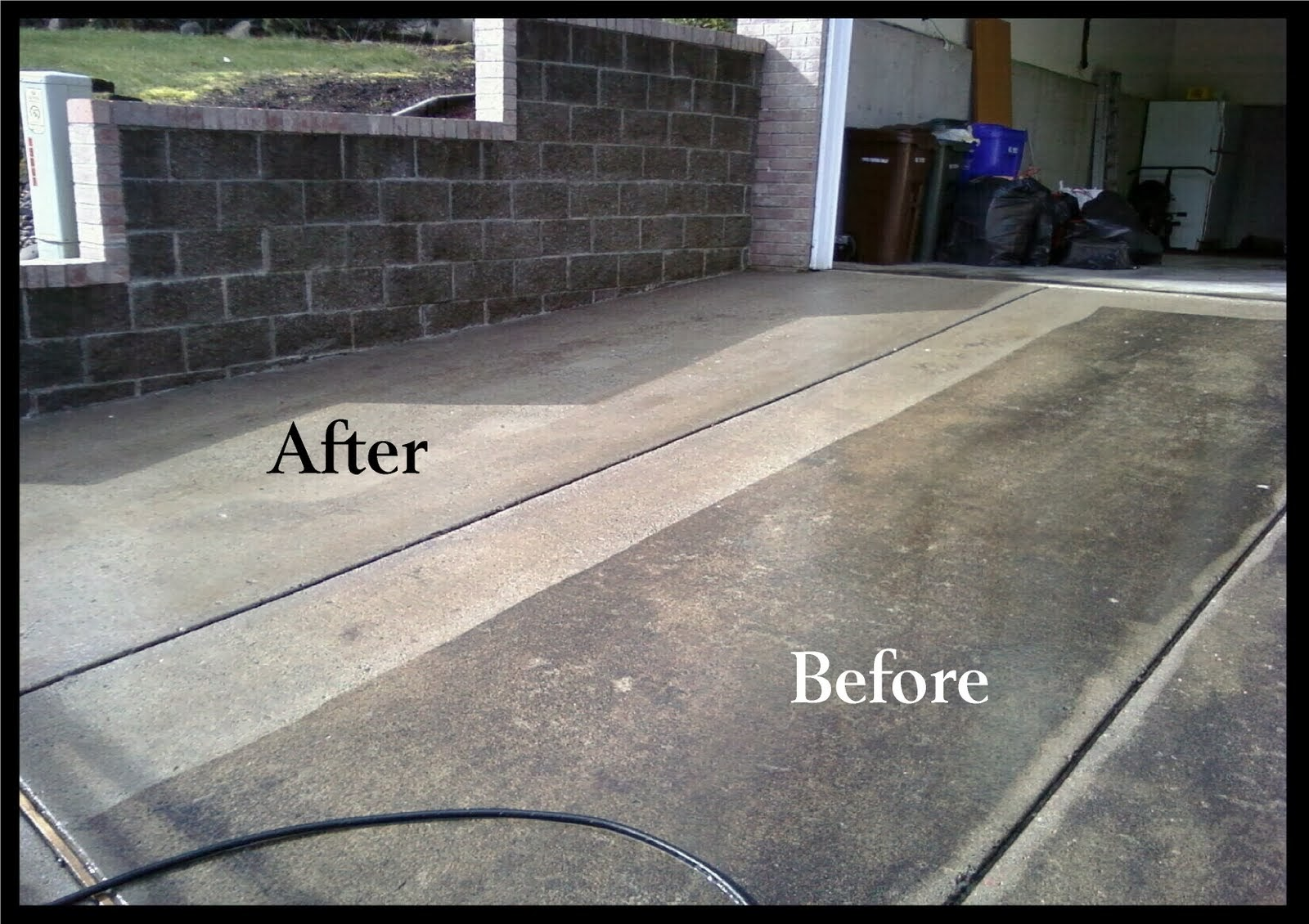 Hydro power wash concrete cleaning for Driveway pressure washer