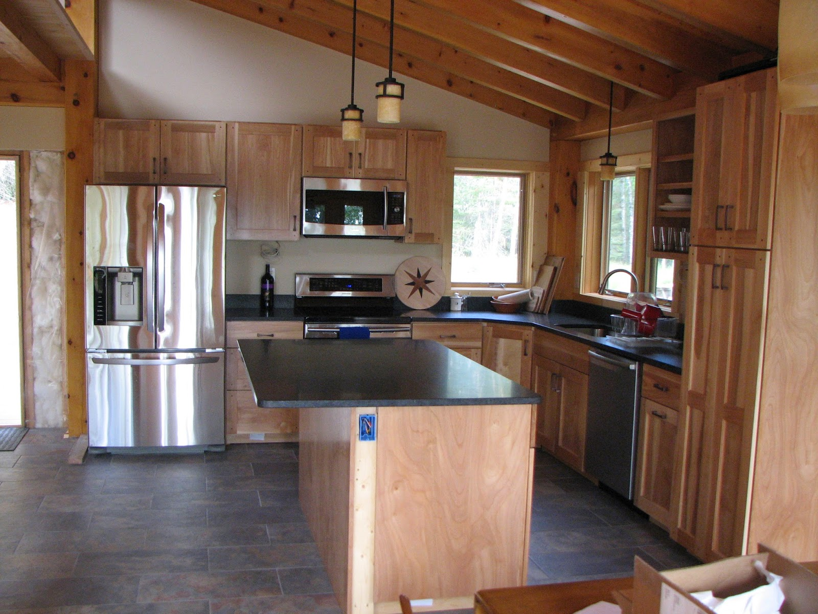 honed, mesabi, black, granite, red birch, cabinets, timber frame, Ely, MN, huisman