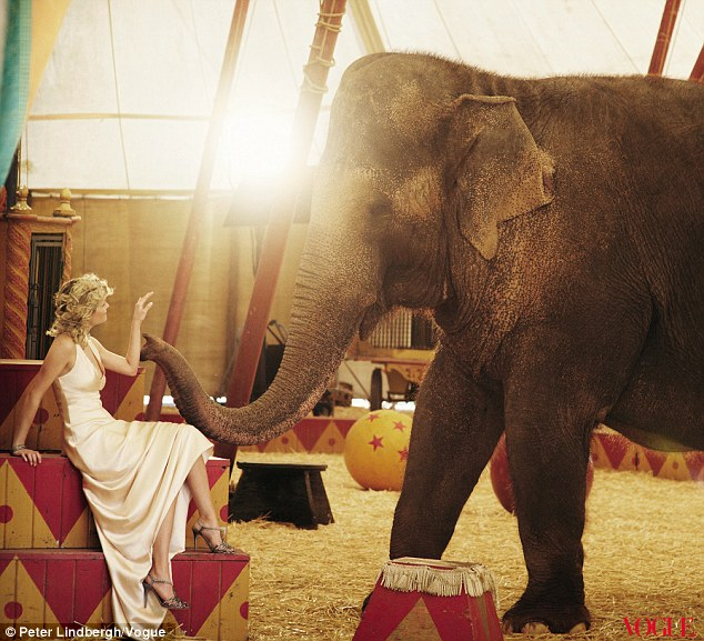 Reese Witherspoon Poses With an Elephant for Vogue