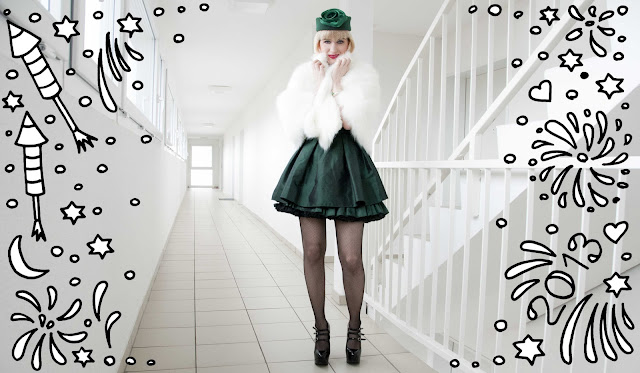 emerald, new year's eve, outfit, retro