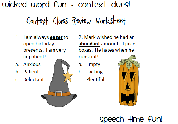 Wicked Word Fun Context Clues – Words in Context Worksheet