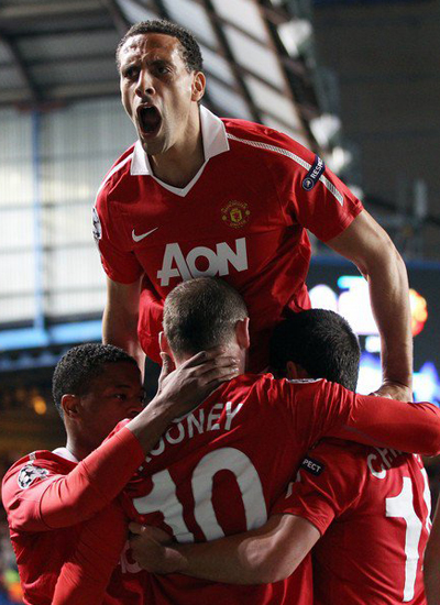 Man Utd champions league quarter finals rooney evra ferdinand chicharito