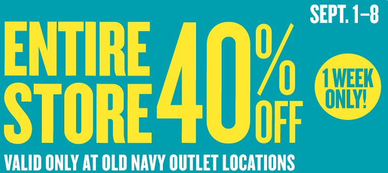 Old Navy Outlet provides the latest fashions at great prices for the whole family. Shop our outlet stores for all your style faves, everyday go-to's and outlet-only pricing.