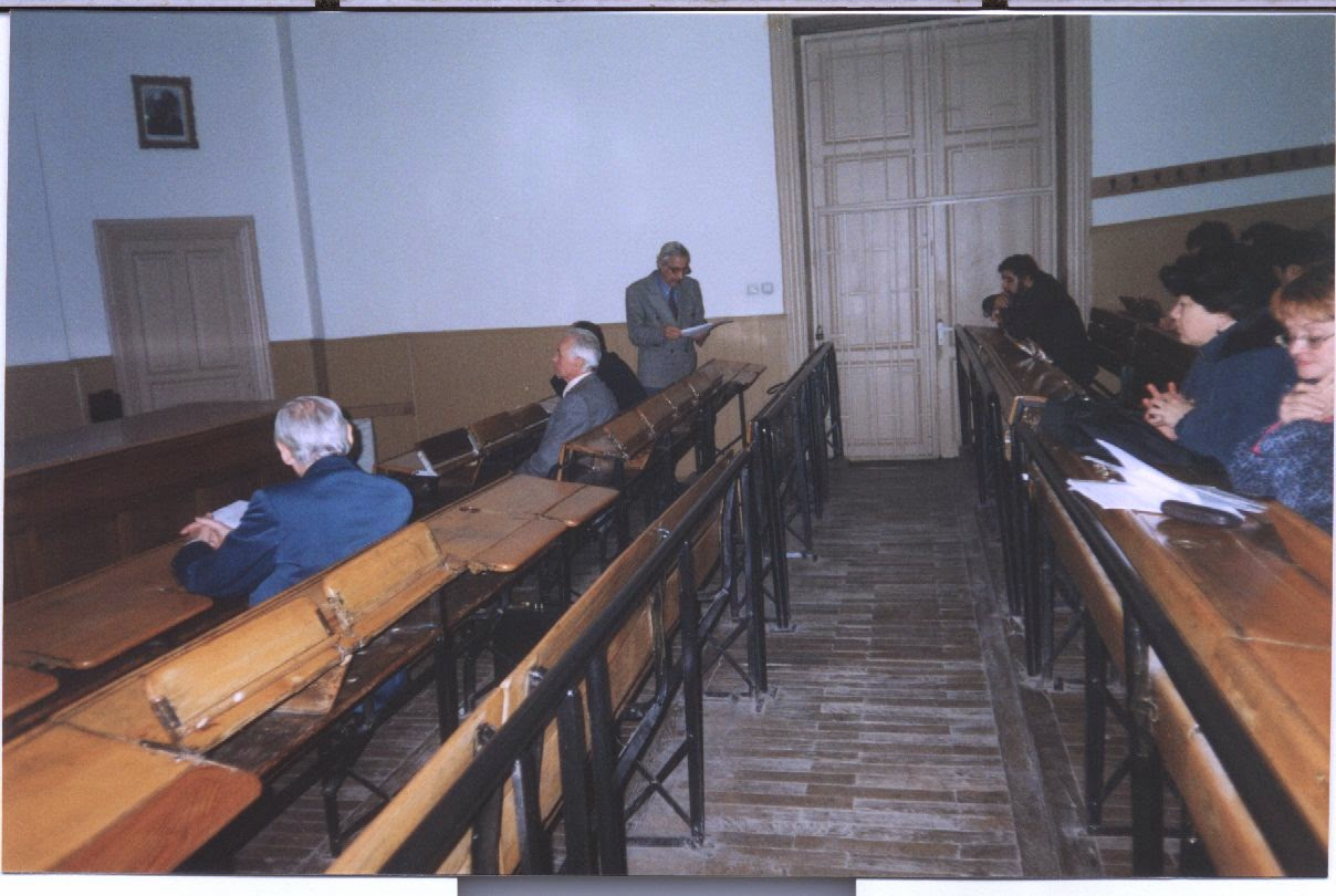 Professor Nicolae Marcov at the Faculty of Matehmatics str Academiei 14 Bucharest Spiru Haret amph