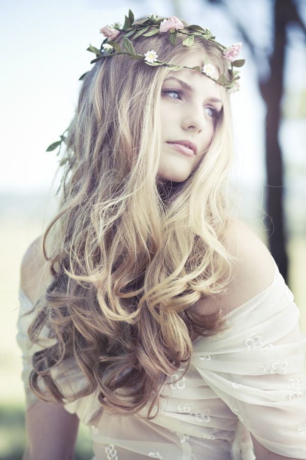 gorgeous long wedding hair down with floral crown for boho theme weddings