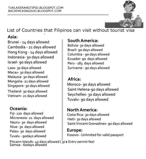 Philippine travel without tourist visa immigration