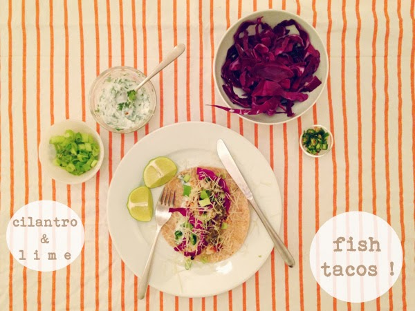 Oh So Lovely Vintage: Cilantro & lime fish taco recipe.