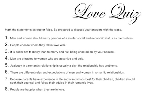 A love quiz