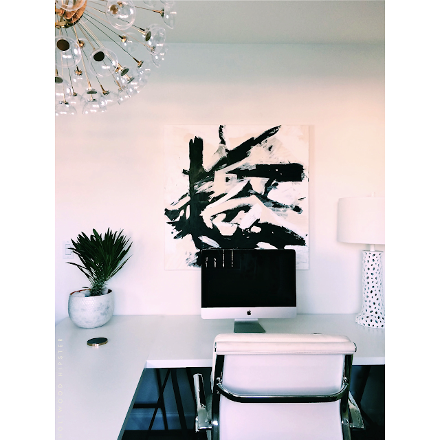 Black and White Home Office One Room Challenge