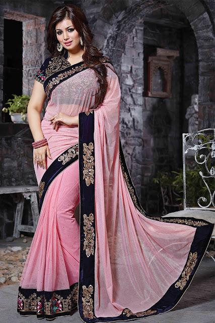 Light Pink Lycra Net Party Wear Saree With Velvet Blouse