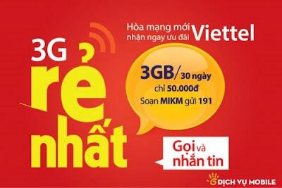 Đăng ký 3G gói MIKM Viettel