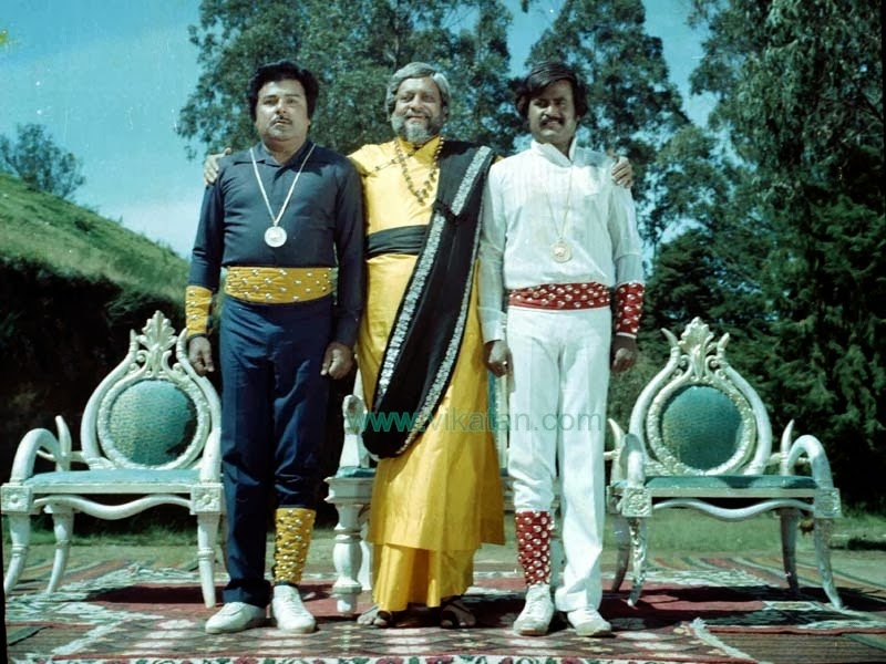 Rajinikanth with Jayshankar & K. Balaji in 'Paayum Puli' (1983) Tamil Movie