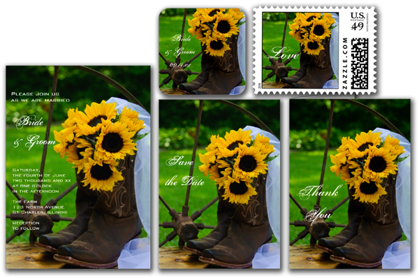 Rustic Sunflowers Country Wedding Invitation