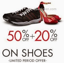 Footwear upto 60% off + Extra 20% off in Cart