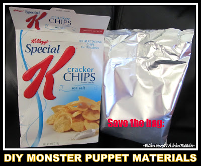 photo of: Upcycled, Inverted Snack liner bag becomes puppet base! (via RainbowsWithinReach)