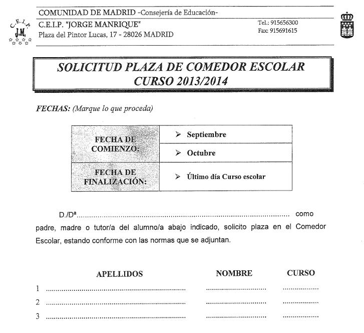 El Cole de Jorge Manrique : Colegio Jorge Manrique - SOLICITUD ...