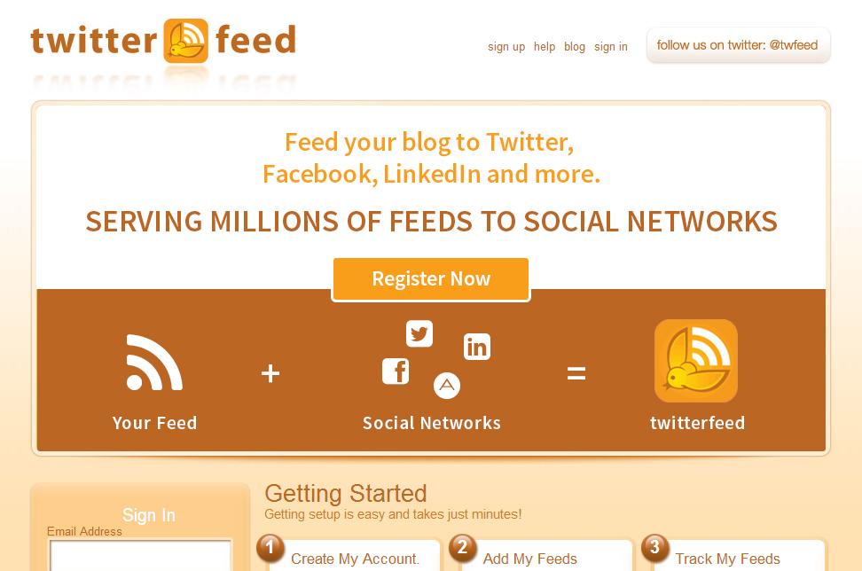 Twitterfeed menghubungkan Postingan dari Blog ke Facebook, Twitter secara otomatis