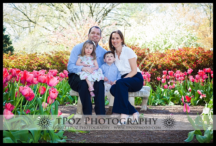 Sherwood Gardens Family Portrait in the tulips
