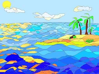 Caribbean island. Детскиий рисунок на компьютере. Alex.