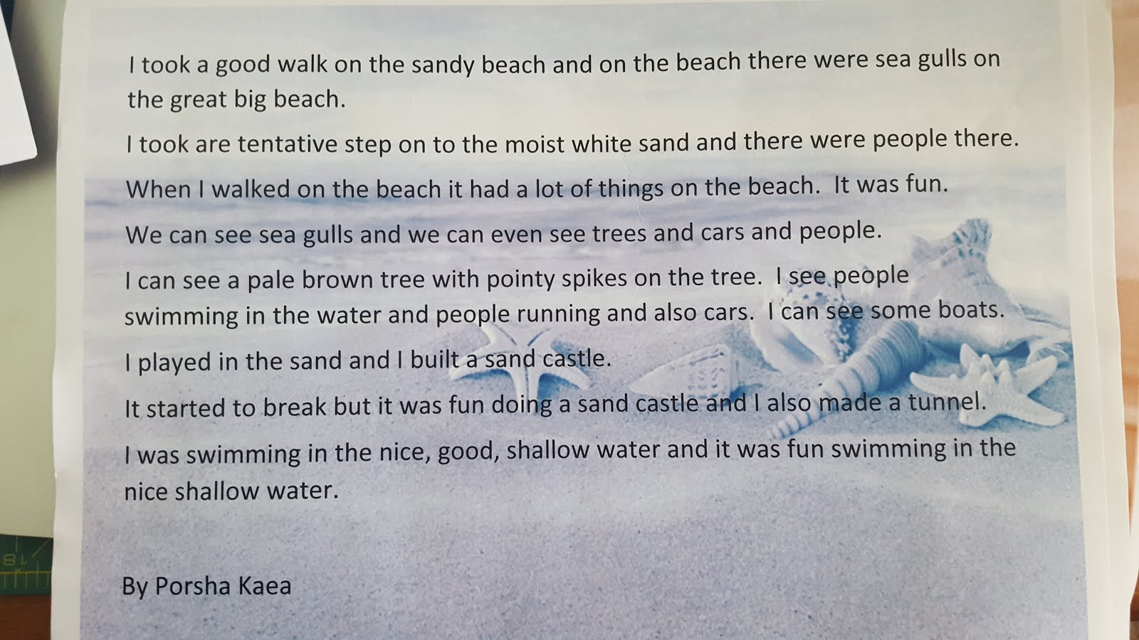 descriptive writing about a beach My favorite thing to do was build gigantic sand castles on the beach descriptive essay: a beautiful paradise descriptive essays, descriptive writing] 549.