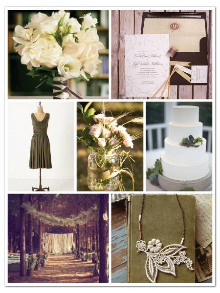 outdoors woodsy green brown wedding inspiration board