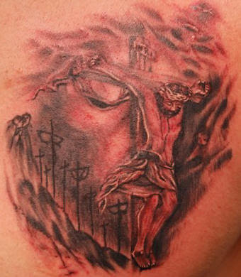 tattoo of Jesus on cross