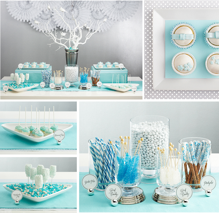table linens and twinkle lights dessert bar