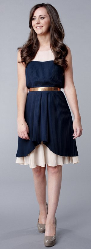 Navy and cream dress, £235, whistles.co.uk. Bronze belt, £9.99, zara.com. Grey court shoes, £60, topshop.com