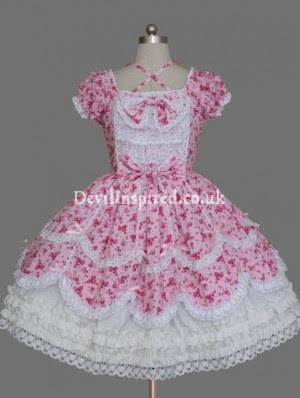 Pink and White Printed Sweet Lolita Dress