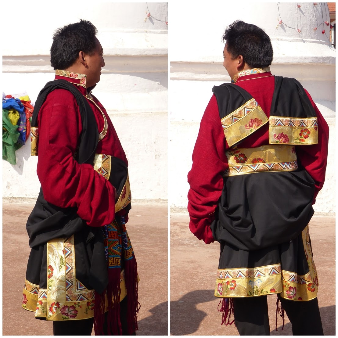 Tibetan man wearing traditional dress