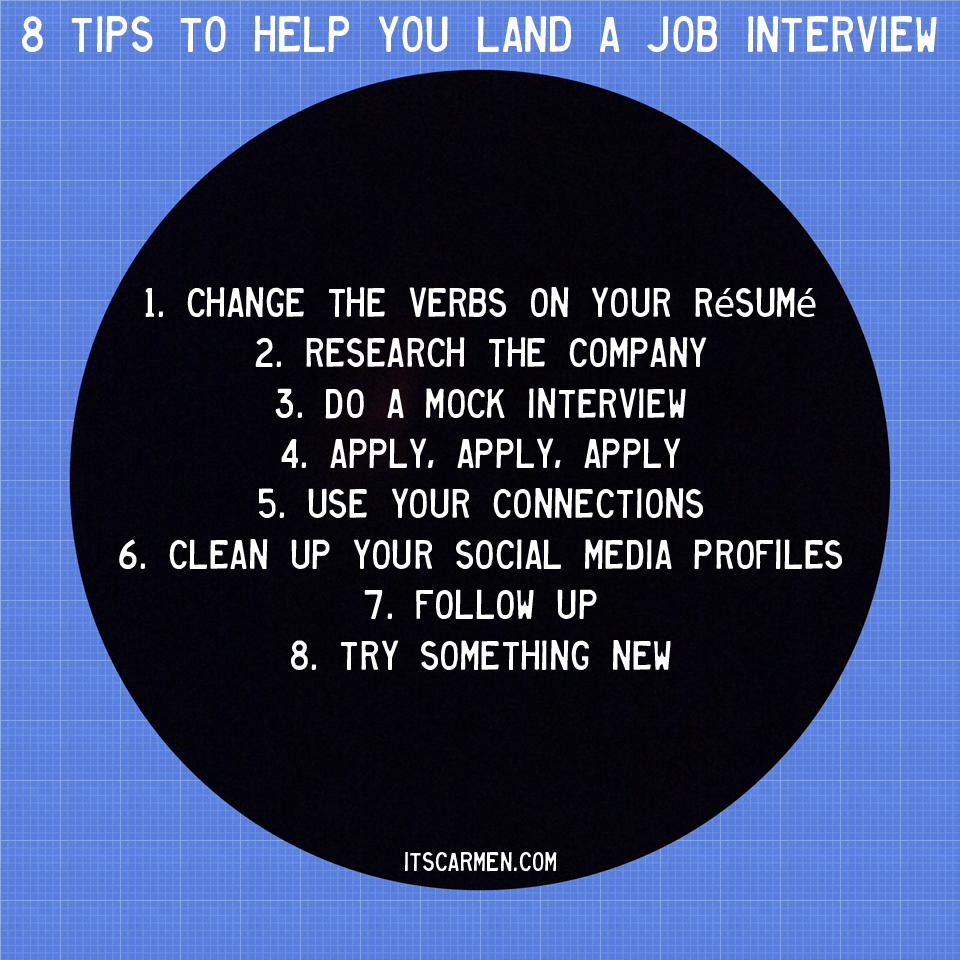job interview hints 8 tips to help you land a job interview carmen ...