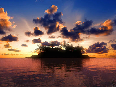 3d sunset in island
