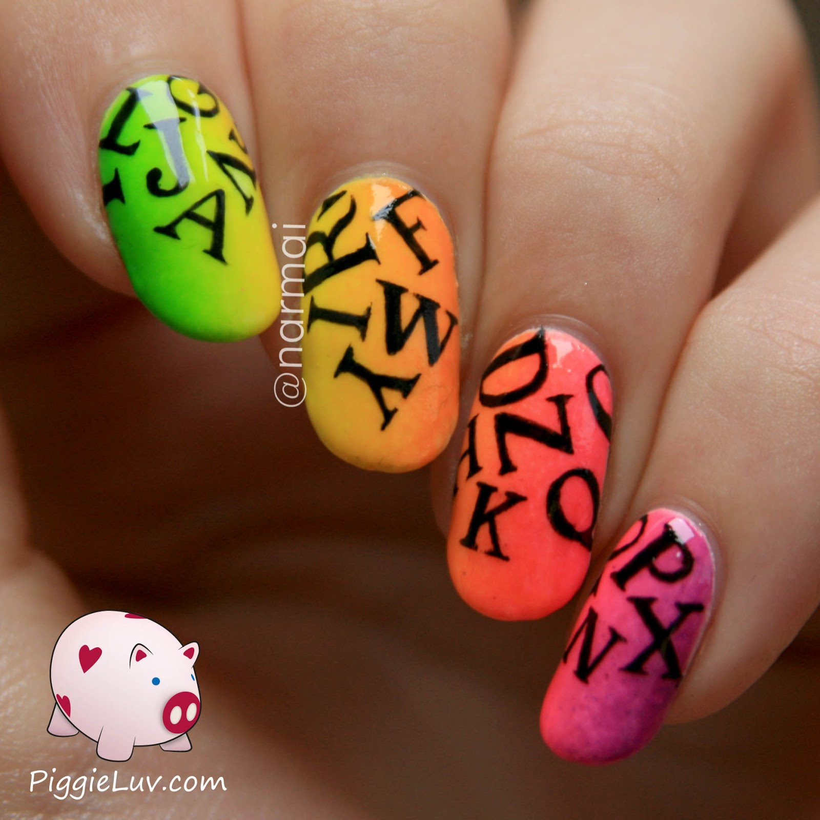 PiggieLuv Neon letter rain nail art (glow in the dark) +