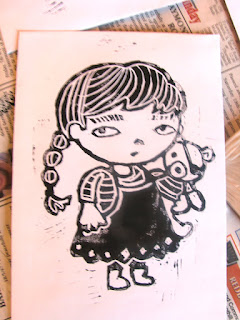 little girl linocut