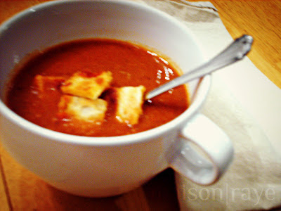 Spicy Tomato Soup with Grilled Cheese Croutons