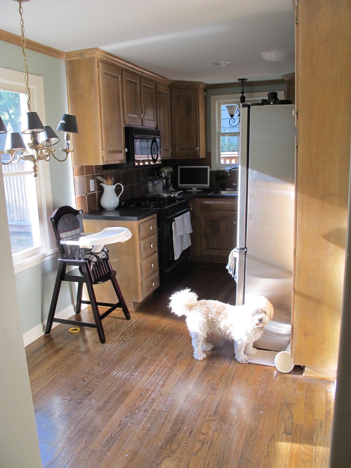 Jenny Steffens Hobick: The Kitchen | DIY Remodel | New Open Shelving on beadboard kitchen walls, beadboard butcher block kitchen, beadboard kitchen cabinets,
